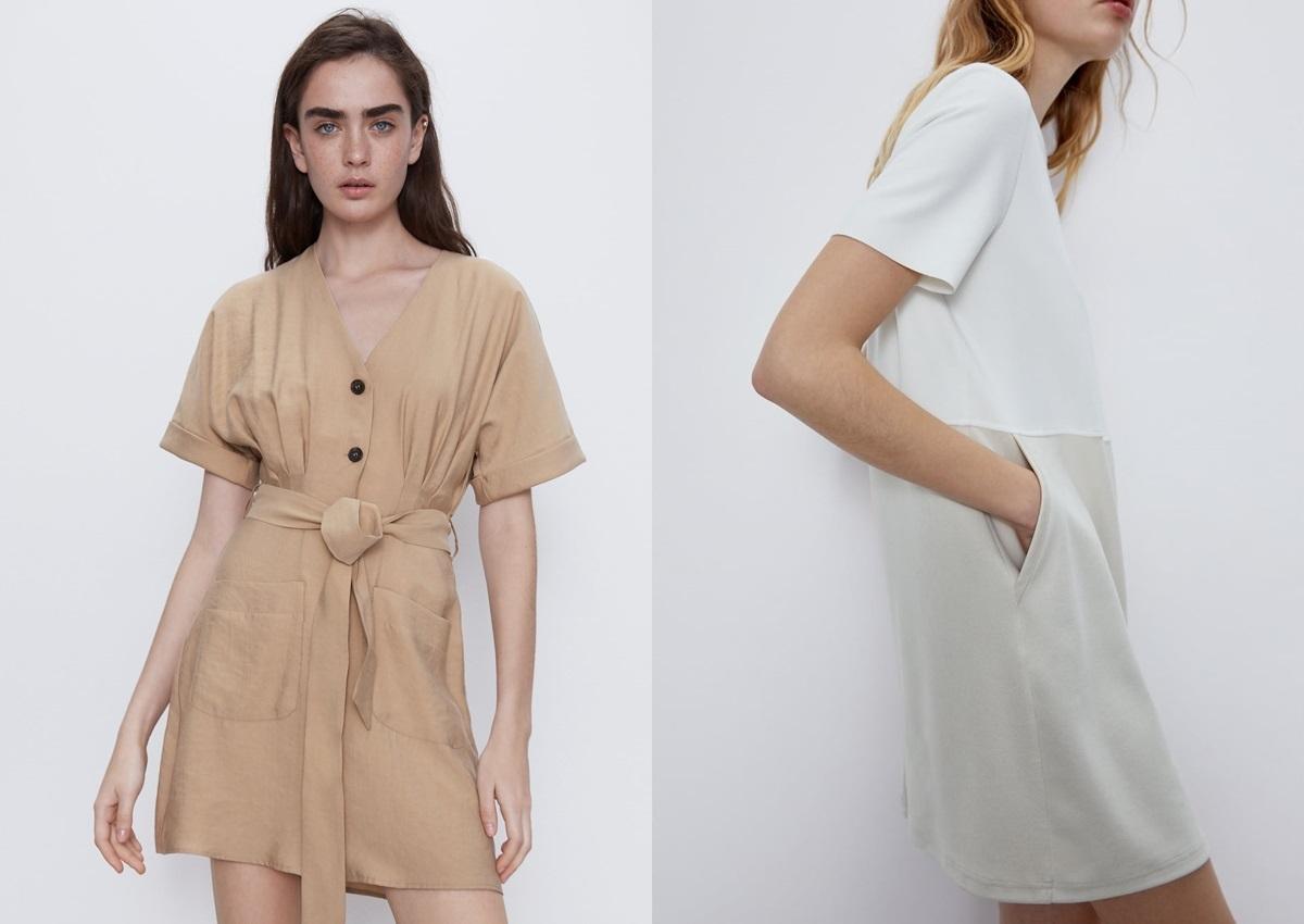 Thiết kế hợp với những cô gái không thích mang túi xách cầu kỳ. Bạn có thể bỏ điện thoại hoặc son vào túi ngang hôngkhi cần. Nên chọn váy cao bằng hoặc ngang đầu gối, màu sắc trung tính để xua tan cái nóng ngày hè. Có thể mix mũ rộng vành, sandal đế thấp... Ảnh:Zara.
