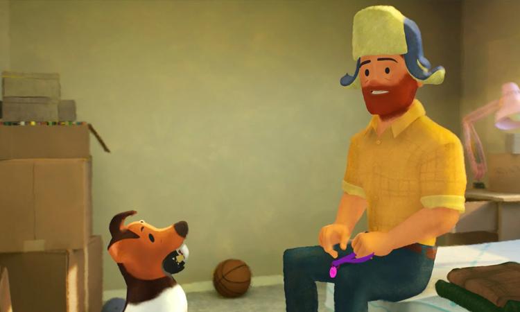 Greg và chú cho Jim trong Out. Ảnh: Disney.