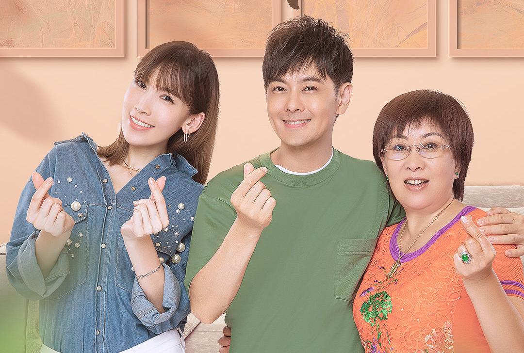 Trần Nhược Nghi, Lâm Chí Dĩnh và bà Lâm Kim Hoa chụp poster cho show thực tế. Ảnh: Mango TV.