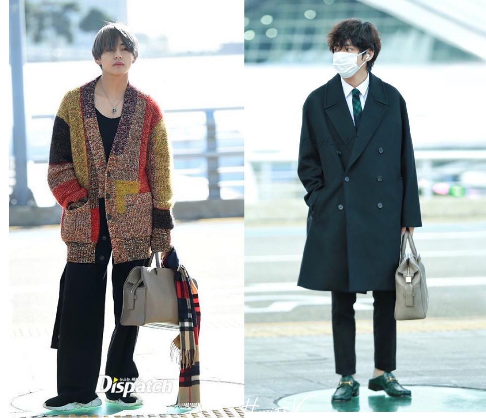Ca sĩ biến hóa phong cách ông ngoại (trái) hoặc lịch lãm (phải) với mẫu túi cỡ vừa của nhà thiết kế Wooyoungmi.