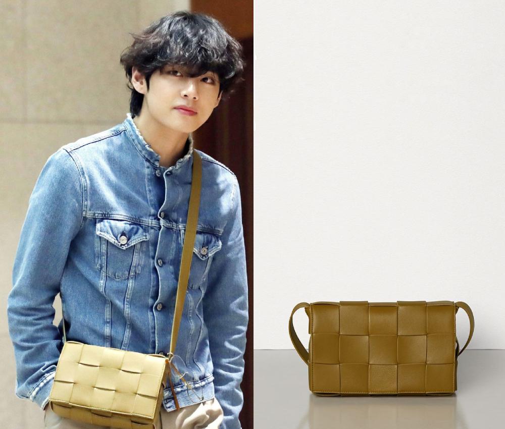 Saukết thúc fanmeeting tại Osaka (Nhật Bản) vào tháng 12/2019, V về Hàn với trang phục năng động, mang túi xách Bottega Veneta đan bằng da cỡ nhỏ, giá 1.900 USD (44,3 triệu đồng).
