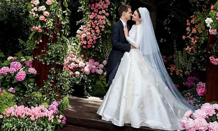 Miranda Ker và tỷ phú Evan Spiegel trong đám cưới. Ảnh: Instagram.