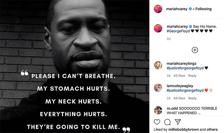 Mariah Carey tiếc thương nạn nhân Geogre Floyd. Ảnh: Instagram.