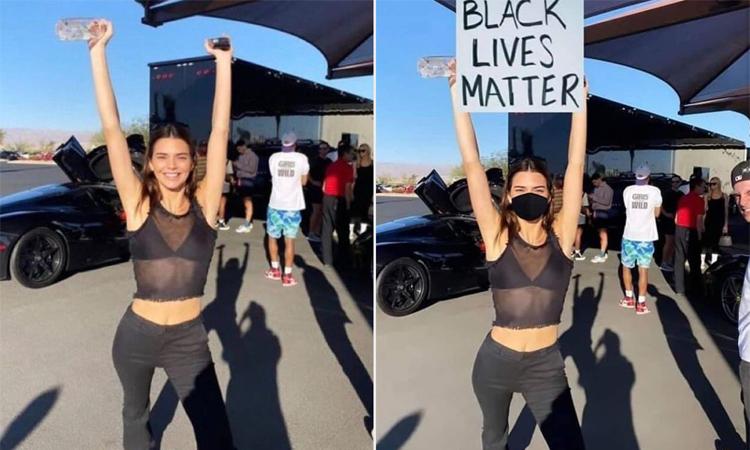 Bức ảnh của Kylie Jenner bị chỉnh sửa thêm tấm biển biểu tình. Ảnh: Twitter.