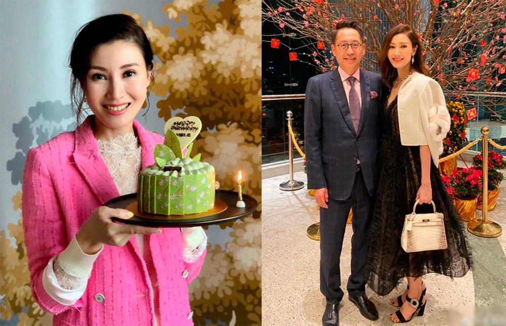 Hoa hậu tại tiệc sinh nhật năm ngoái (trái) và ảnh bên chồng hồi đầu năm.