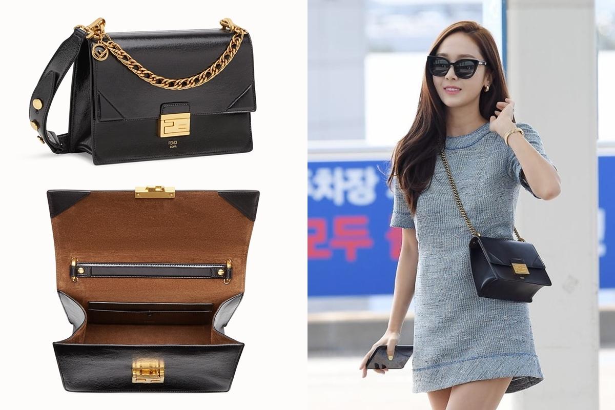 Cô xuất ngoại tháng 3/2019 với mẫu túi đen cổ điển của Fendi, giá2.790 USD. Phụ kiện làm từ da cừu, tăng vẻ sang trọng với vạt hình học ở nắp.