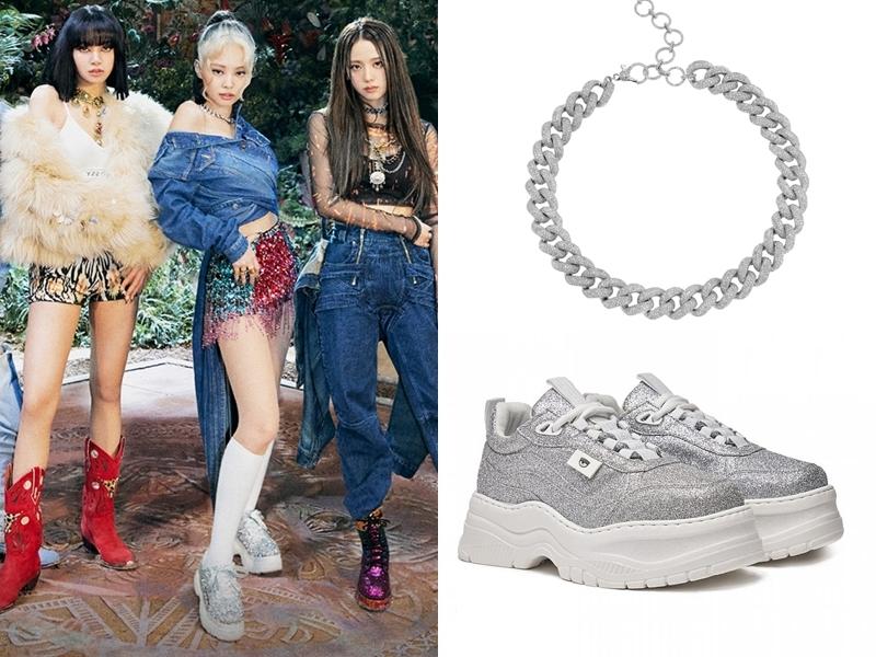 Jennie (giữa, ảnh trái) đeo vòng cổ của Shay giá 77.700 USD (khoảng 1,8 tỷ đồng) kết hợp sneaker đế cao Chiara Ferragni giá 295 bảng Anh (hơn 7,7 triệu đồng).