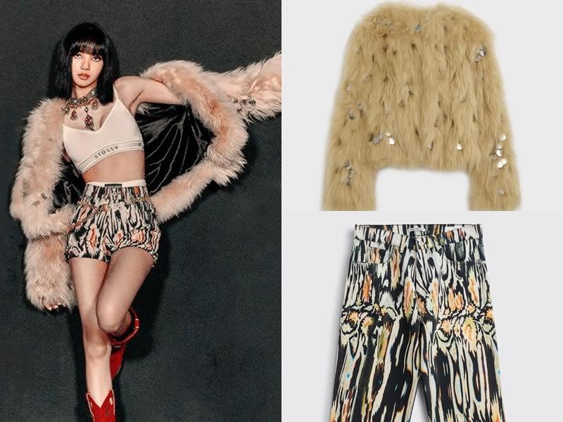Ở phần đầu MV, Lisa diện áo lông của Celine giá 21.390 USD (khoảng 496 triệu đồng) kết hợp quần của Our Legacy giá 505 USD (gần 12 triệu đồng). Ca sĩ sử dụng phụ kiện là bộ đôi vòng cổ, thắt lưng của Bell & Noveau giá 5 triệu won (hơn 96 triệu đồng).