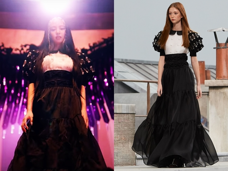 Là gương mặt đại diện của Chanel, Jennie diện mẫu đầm organza thêu nằm trong bộ sưu tập xuân hè 2020 của hãng với giá 28.200 USD (hơn 656 triệu đồng).
