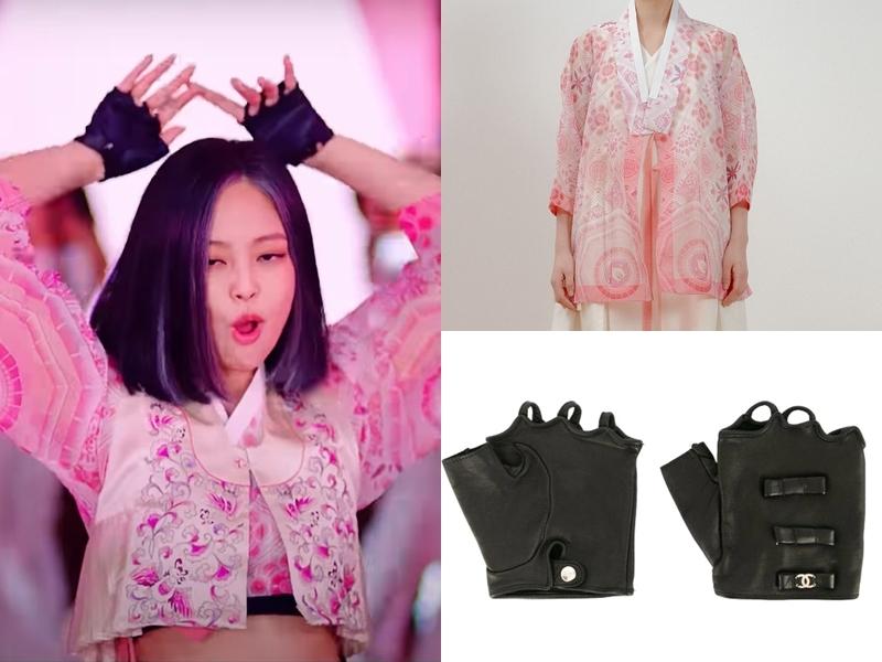 Jennie diện mẫu hanbok của Danha giá 426 USD (gần 9,9 triệu đồng) kết hợp găng tay da của Chanel giá 1.000 USD (hơn 23 triệu đồng).