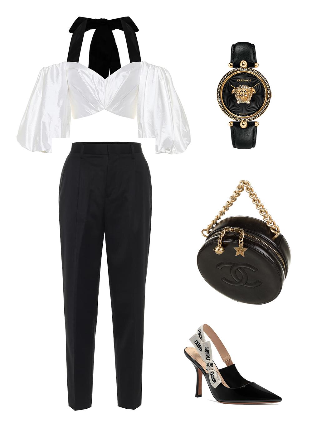 Mẫu crop top lụa trắng, phối dây buộc đen của Rasario mang phong cách thập niên 1980. Áo dễ phối với quần Noir Kei Ninomiya nhờ phần eo cao, tạo hiệu ứng giúp chân dài hơn. Set đồ trắng, đen nổi bật hơn khi kết hợp túi xách hình tròn Chanel (84 triệu đồng), giày cao gót Dior ( hơn 20 triệu đồng) và đồng hồ Versace ( gần 14 triệu đồng).