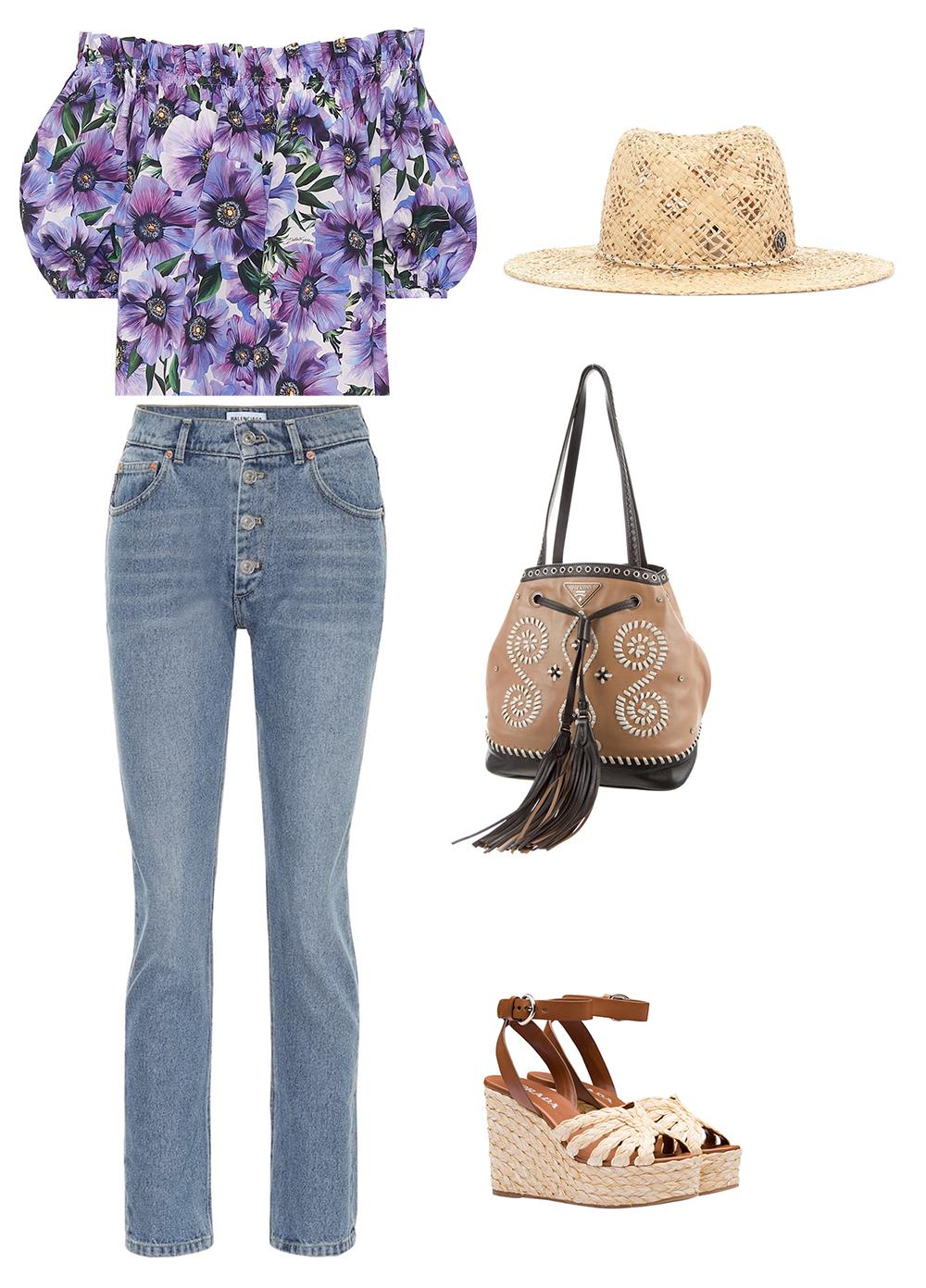 Dolce & Gabbana tiếp tục lăng xê họa tiết hoa qua thiết kế trễ vai màu tím. Áo hợp với quần jeans cạp cao Balenciaga. Nếu thích phong cách bohemian, các cô gái có thể mix với túi xách Prada da bê (22 triệu đồng), dép đế xuồng cùng thương hiệu (gần 17 triệu đồng), tạo điểm nhấn với mũ sợi cọ raffia của Maison Michel.