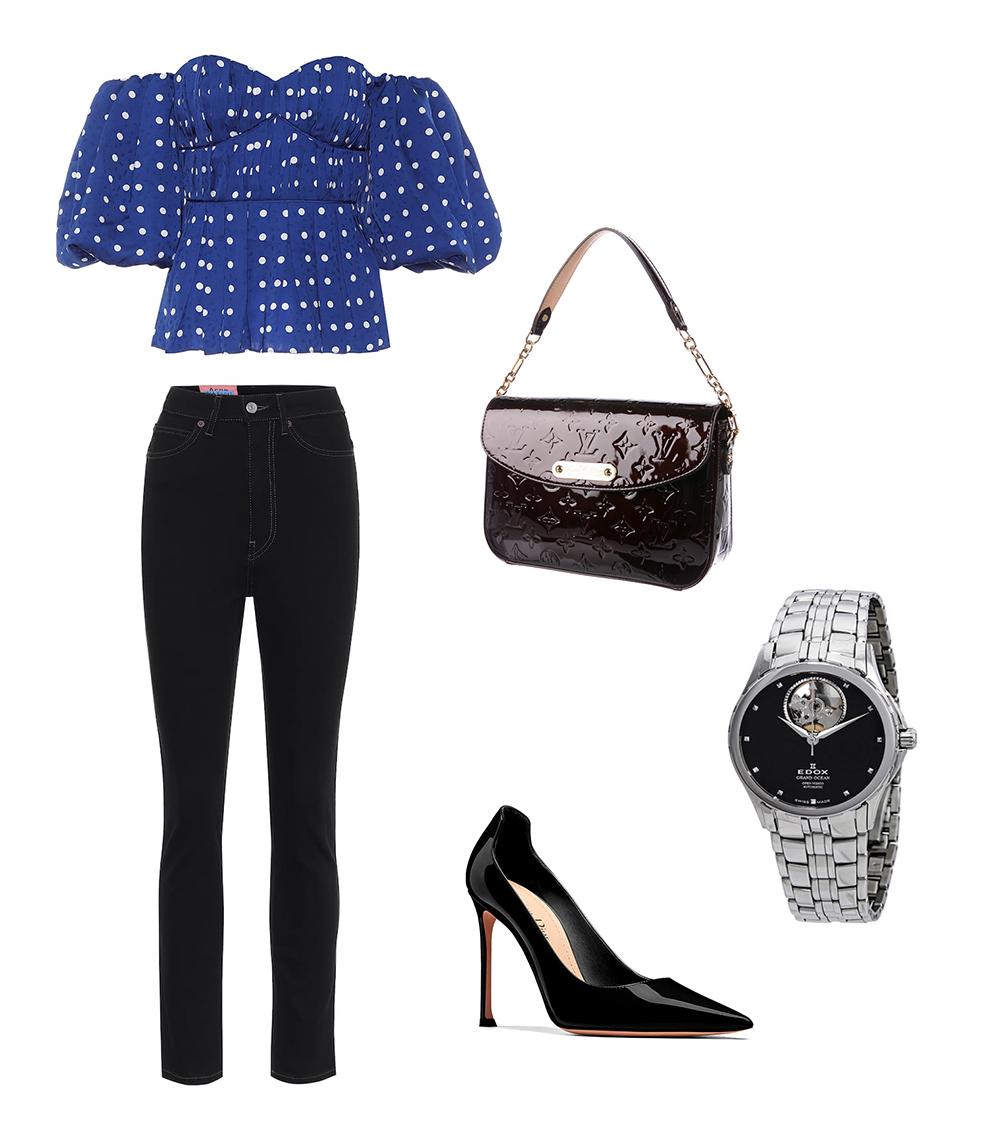 Mẫu áo trễ vai khác của hãng Self-Portrait vừa ra mắt năm nay, tạo điểm nhấn với phần tay, eo phồng nhẹ nhằm che đường cong. Nên kết hợp với quần skinny để không bị giấu dáng. Để hoàn thiện trang phục dạo phố, tham khảo thêm các phụ kiện gam đen như giày cao gót Dior (16 triệu đồng), túi xách Louis Vuitton (22 triệu đồng), đồng hồ Edox (17 triệu).
