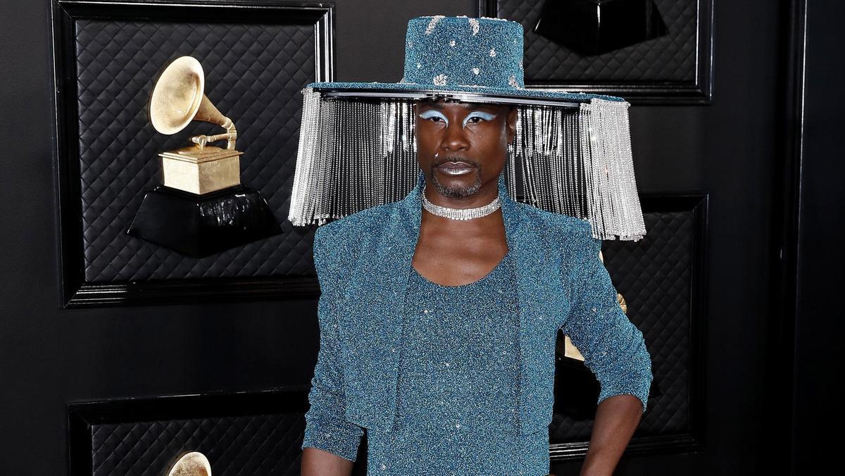 Billy Porter mặc áo khoác bolero đồng màu trang phục tại Grammy 2020. Ảnh: EPA.