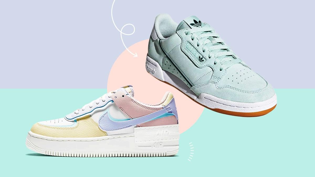 Theo Female Network, sneakers là item phổ biến có trong tủ đồ của mọi cô gái. Phụ kiện dễ phối với nhiều trang phục: từ chiếc váy đơn giản; combo áo thun, quần short hay áo sơ mi, quần jeans. Để làm mới tủ giày và biến hóa phong cách, các cô gái có thể bổ sung thêm các mẫu sneakers gam pastel, thay vì chỉ trung thành với màu trắng.