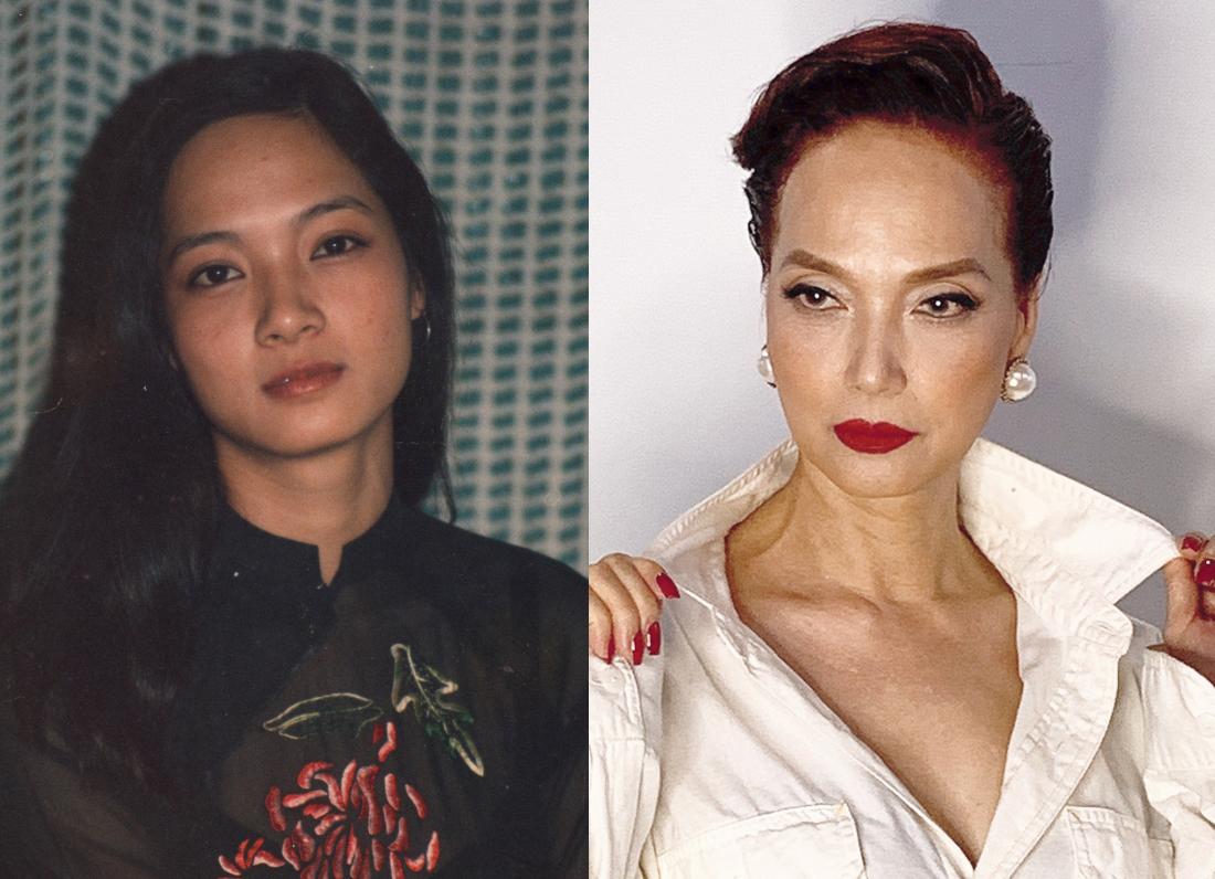 Lê Khanh cắt tóc ngắn sau hơn 20 năm (phải) và mái tóc xõa dài ở tuổi đôi mươi. Ảnh: Phúc Trần.