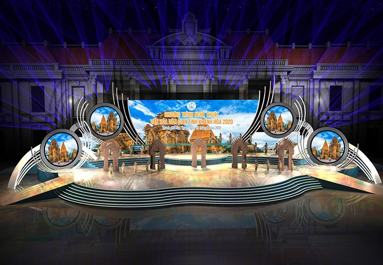 Phối cảnh sân khấu trong đêm nhạc Khánh Hòa - những sắc màu văn hóa. Ảnh: Hồng Sơn.