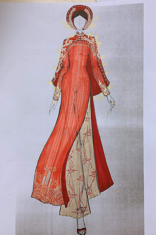 Bản vẽ tay một thiết kế trong bộ sưu tập áo dài cưới của Thủy Nguyễn. Ảnh: TDH.