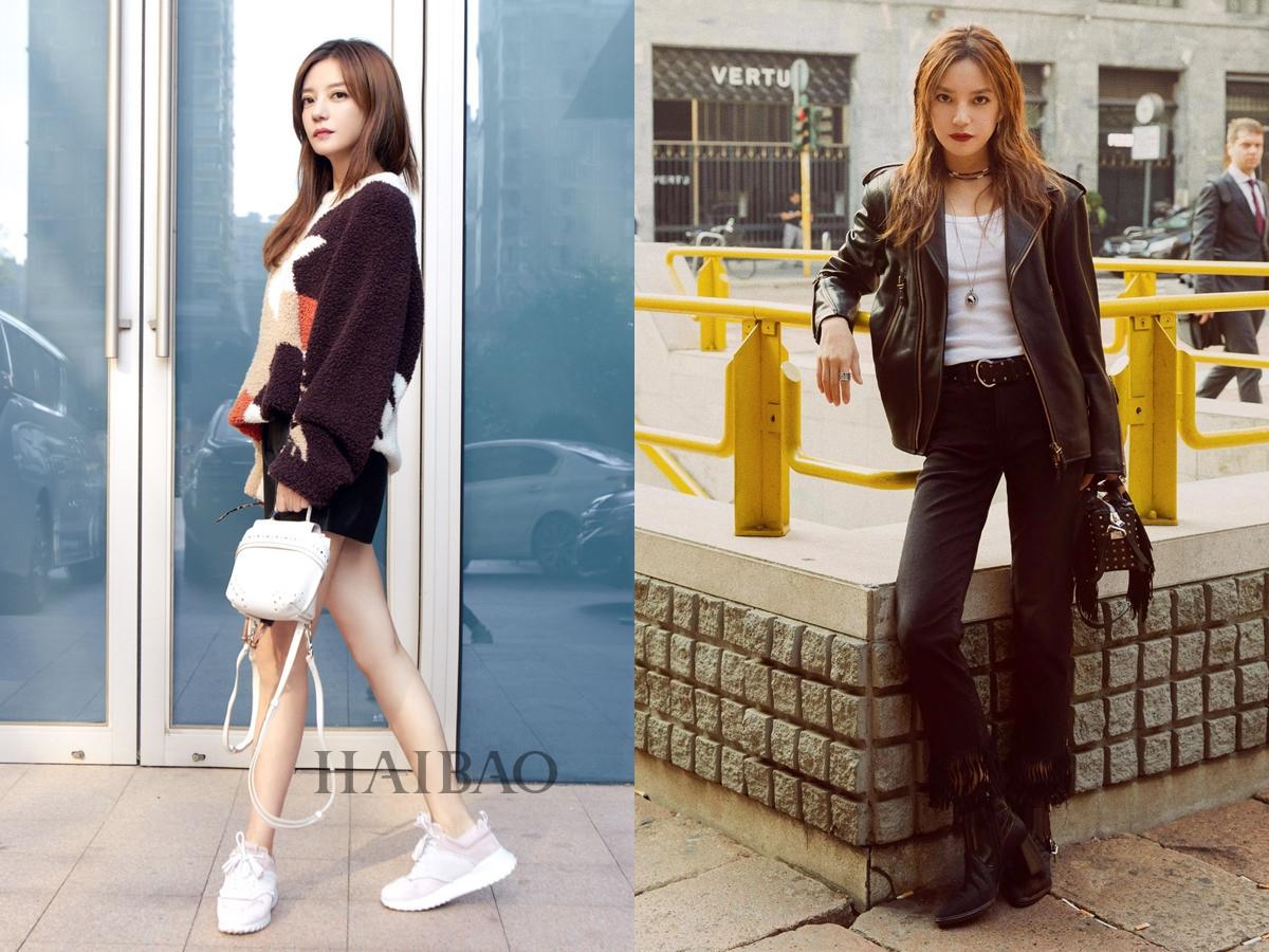 Cô diện phong cách trẻ trung với set đồ của Tods khi đến Italy dự Tuần thời trang Milan Xuân Hè 2019 (trái). Tại Milan, cô dạo phố với trang phục cá tính gồm: áo thun trắng, khoác da, quần ống tua rua, túi đinh tán và boots thấp.