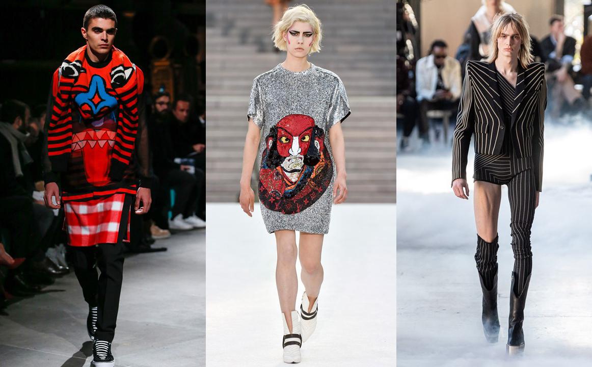 (Từ trái sang phải) Thiết kế Thu Đông 2017 của Givenchy, Resort 2018 của Louis Vuitton và Thu Đông 2020 của Rick Owens chịu ảnh hưởng màu sắc, đường nét, kết cấu trong phong cách thiết kế của Kansai Yamamoto. Ảnh: Gorunway, Indigital.tv.
