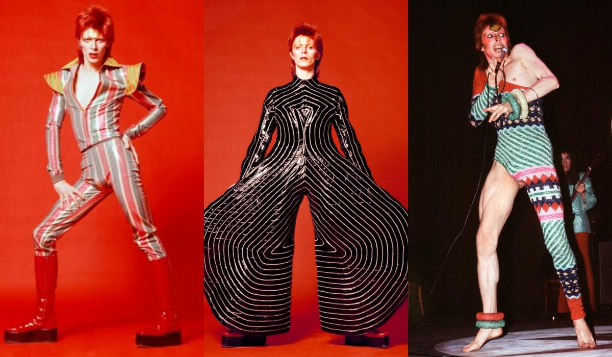 Những trang phục biểu diễn của David Bowie trong Ziggy Stardust Tour. Ảnh: Pinterest, Miramax Films.