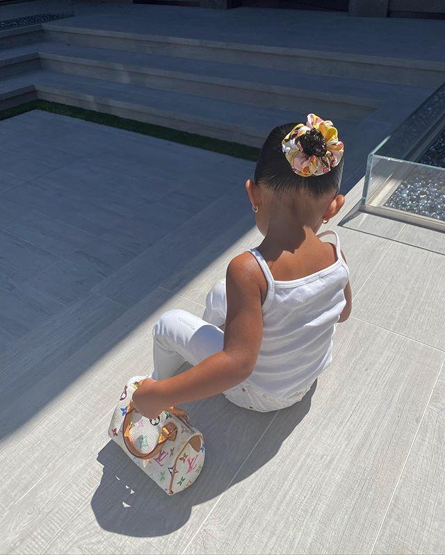 Con gái Kylie Jenner bên túi xách Louis Vuitton. Ảnh: Kylie Jenner.