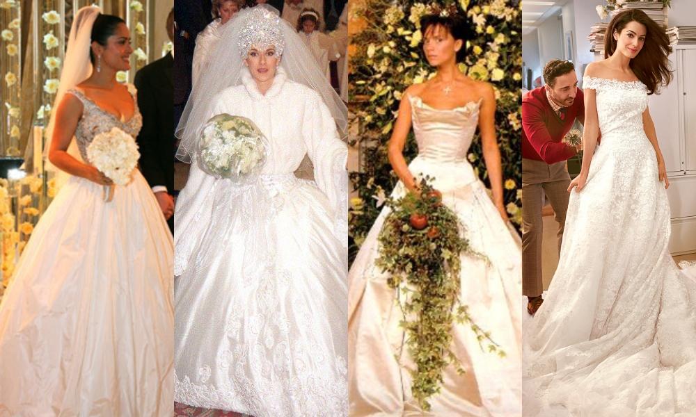 (Từ trái qua) Salma Hayek, Celine Dion, Victoria Beckham, Amal Alamuddin diện váy cưới chịu ảnh hưởng từ đầm cưới của công nương Diana. Ảnh: Alpha-Adrea Renault, Oscar de la Renta.