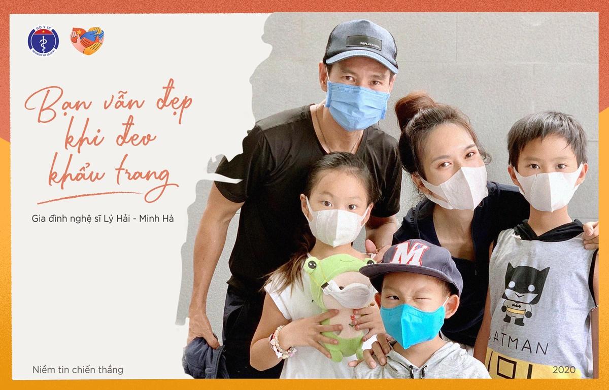 Gia đình Lý Hải - Minh Hà hưởng ứng chiến dịch. Ảnh: Bộ Y tế cung cấp.