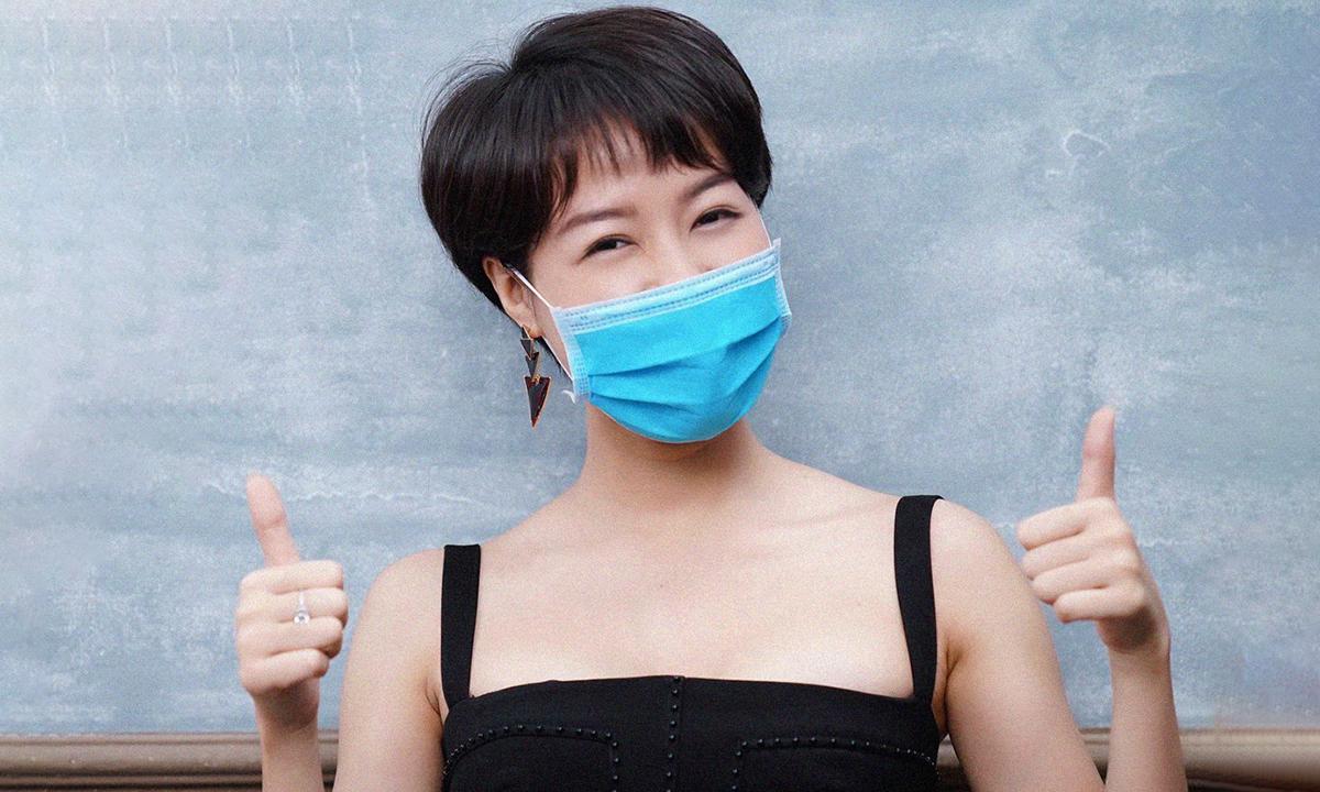 Diễn viên Hoàng Kim Ngọc là một trong những nghệ sĩ đi đầu trong việc kêu gọi đeo khẩu trang. Ảnh: Bộ Y tế cung cấp.