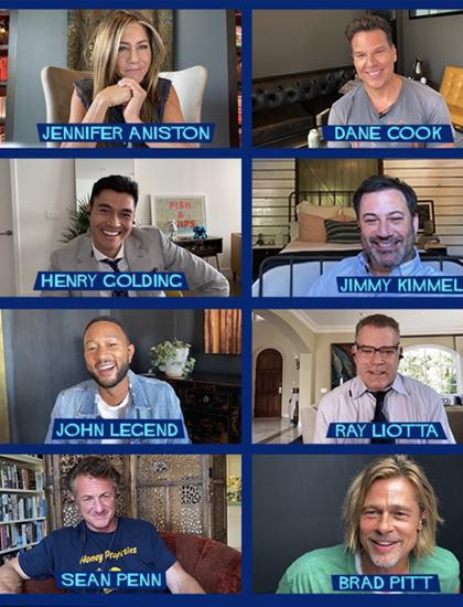 Jennifer Aniston và Brad Pitt cùng dàn sao dự buổi tập đọc kịch bản hôm 14/9. Ảnh: