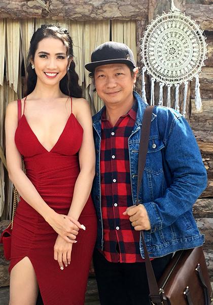 Phan Thị Mơ bên đạo diễn Đỗ Thành An trên trường quay phim Kiều @. Ảnh: