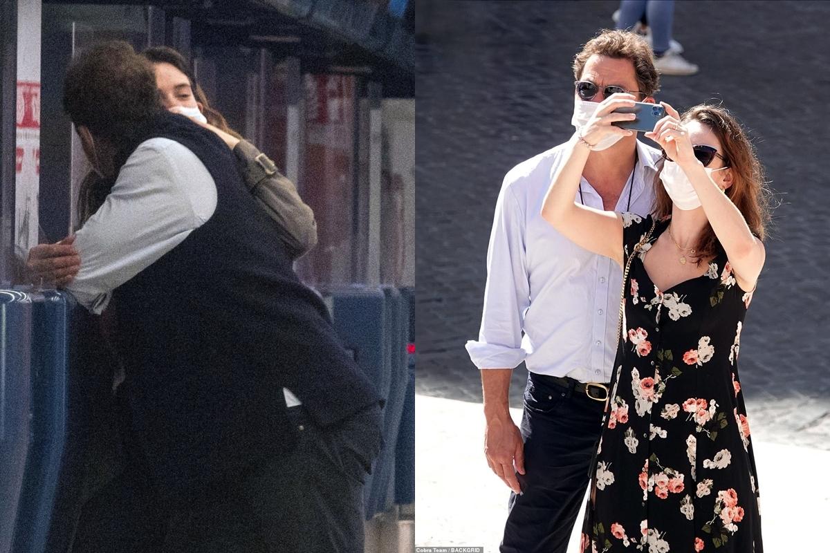 Dominic West và bạn diễn Lily James cùng nhau đến Rome. Ảnh: BackGrid.