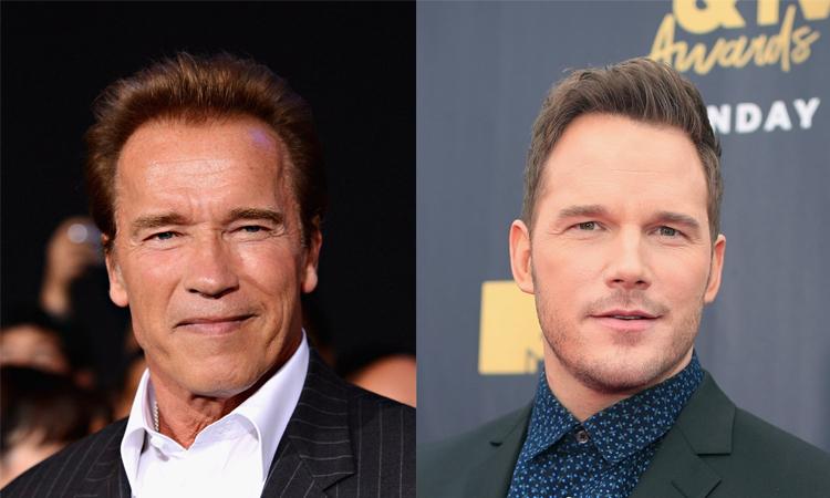 Arnold Schwarzenegger (trái) và con rể Chris Pratt. Ảnh: Independent.