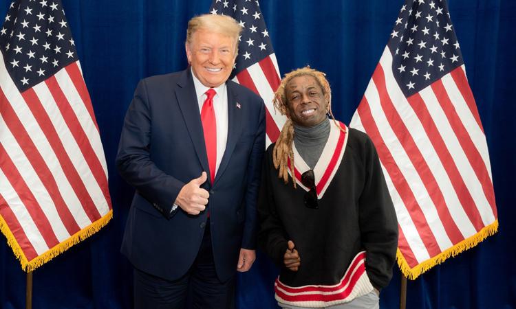 Rapper Lil Wayne tới ủng hộ chiến dịch bầu cử của Donald Trump hôm 30/10. Ảnh: Lil Wayne Twitter.