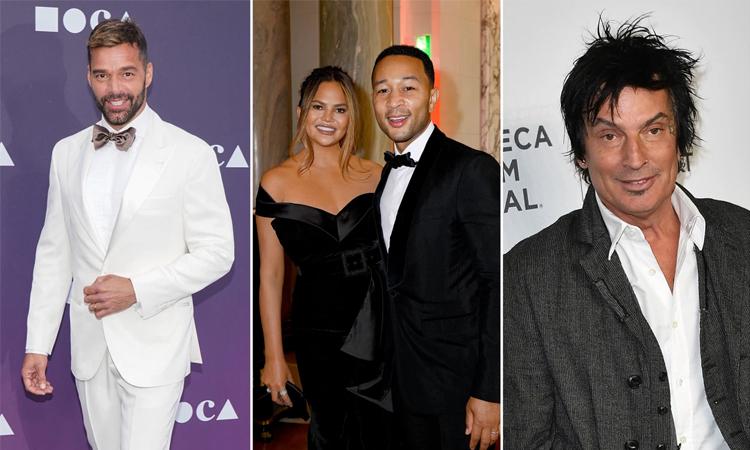 Ricky Martin, vợ chồng John Legend và nhạc công Tommy Lee (từ trái qua). Ảnh: AFP.