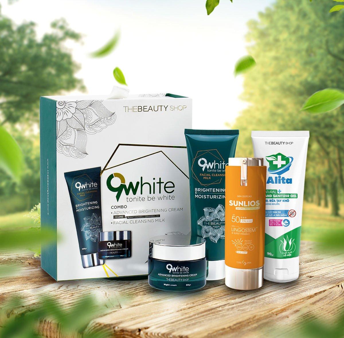 Sữa rửa mặt, kem dưỡng trắng 9White và kem chống nắng dưỡng da Sunlios giúp trẻ hóa làn da, ngăn ngừa mụn, bảo vệ da trước tia UV, ánh sáng xanh.
