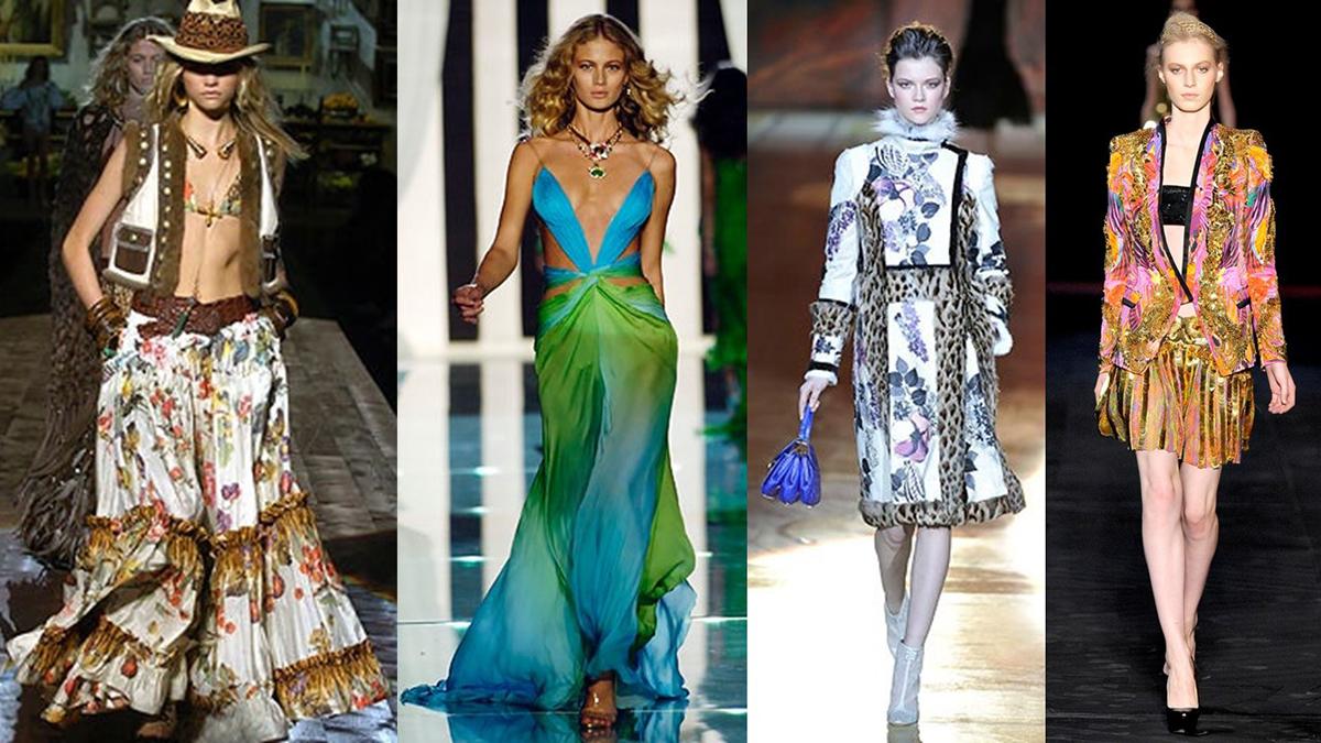 (Từ trái qua) Những thiết kế mang đậm dấu ấn của Cavalli ở mùa mốt Xuân Hè 2005, Xuân Hè 2006, Thu Đông 2008, Xuân Hè 2012. Ảnh: Gorunway.