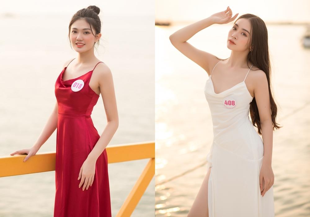 Kiểu váy ngủ nhấn eo, cổ đổ được nhiều thí sinh - trong đó có Nguyễn Huỳnh Diệu Linh và  - lựa chọn.