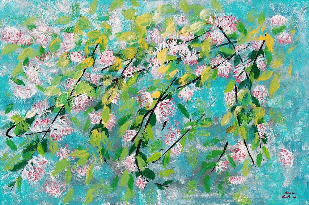 Bức Hoa dây leo từ khung cửa phòng vẽ, chất liệu acrylic, kích thước 100 cm x 150 cm. Ảnh: Lý Đợi.
