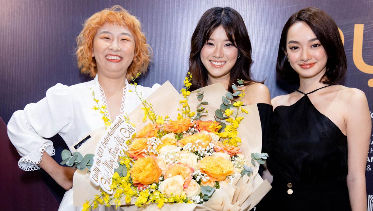 Diễn viên Kaity Nguyễn (phải) và Trang Hý (trái) đến chung vui. Cả hai cho biết yêu quý tính cách hồn nhiên, vui tươi và thái độ lăn xả với từng vai diễn của Hoàng Yến Chibi.
