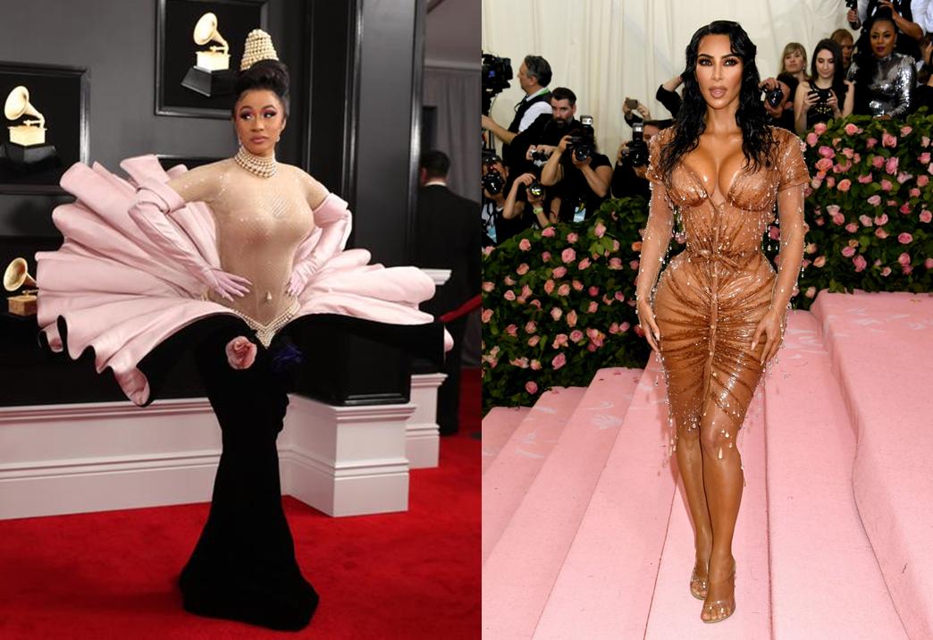 Cardi B tại Grammy 2019, mặc trang phục lấy cảm hứng từ sự ra đời của nữ thần Venus, từ BST Thu Đông 1995/ Kim Kardashian tại Met Gala 2019. Trang phục được làm từ mủ cao su đính đá, tạo diện mạo ướt át cho sao nữ. Ảnh: Reuters/PA