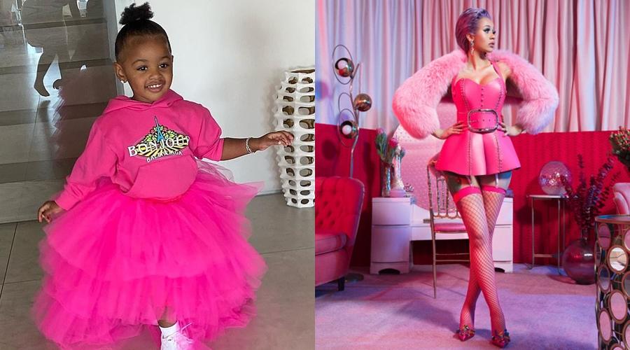 Cardi B nhiều lần diện cả bộ màu hồng trong đời thường lẫn trên sân khấu. Cô cũng cho con gái mặc tương tự.