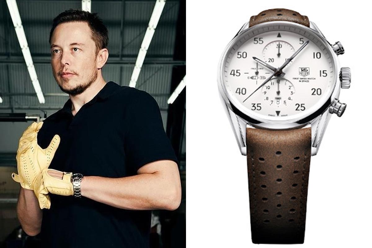 Musk có thú chơi đồng hồ độc đáo. Anh hiếm khi chọn đồng hồ hào nhoáng đắt tiền đến từ các thương hiệu đình đám. Thay vào đó, anh chọn thiết kế đề cao tính thiết thực gắn với thương hiệu của chính mình: TAG Heuer Carrera Calibre 1887 Space X. Thiết kế được lấy cảm hứng từ Heuer 2915A -  chiếc đồng hồ bấm giờ đã biến TAG Heuer trở thành thương hiệu đầu tiên xuất hiện ngoài trái đất - của đại tá John Glenn.   Là phiên bản được phát hành giới hạn vào năm 2012 để tôn vinh tham vọng của SpaceX đưa người lên sao Hỏa năm 2024, đồng hồ mang họa tiết tên lửa ở cả hai mặt. Nó từng bay lên vũ trụ, du hành trên tàu Dragon của Space X trong nhiệm vụ đến Trạm vũ trụ quốc tế. Với cọc số theo kiểu 1/5, nó được coi là một công cụ hoàn hảo giúp Elon Musk chia thời gian để thực hiện khối lượng công việc hàng ngày. Trước khi bắt tay hãng đồng hồ thụy sĩ TAG Heuer, anh từng đeo chiếc Omega Seamaster Aqua Terra. Ảnh: Instagram Elon Musk.