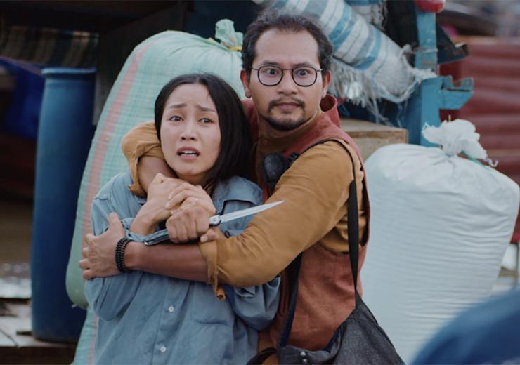Huỳnh Đông (phải) tái xuất với vai phản diện bên Ốc Thanh Vân - vai vợ Hiền. Ảnh: Lê Tuấn.