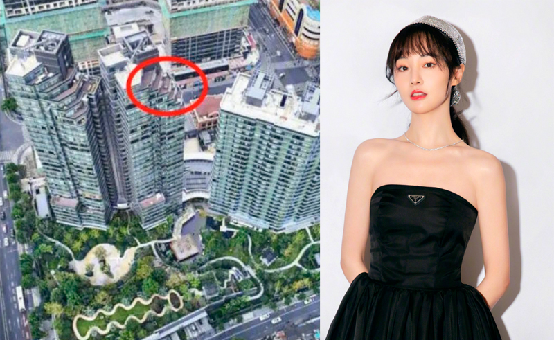 Trịnh Sảng ở một trong các tầng cao nhất của tòa nhà. Ảnh: Ifeng.