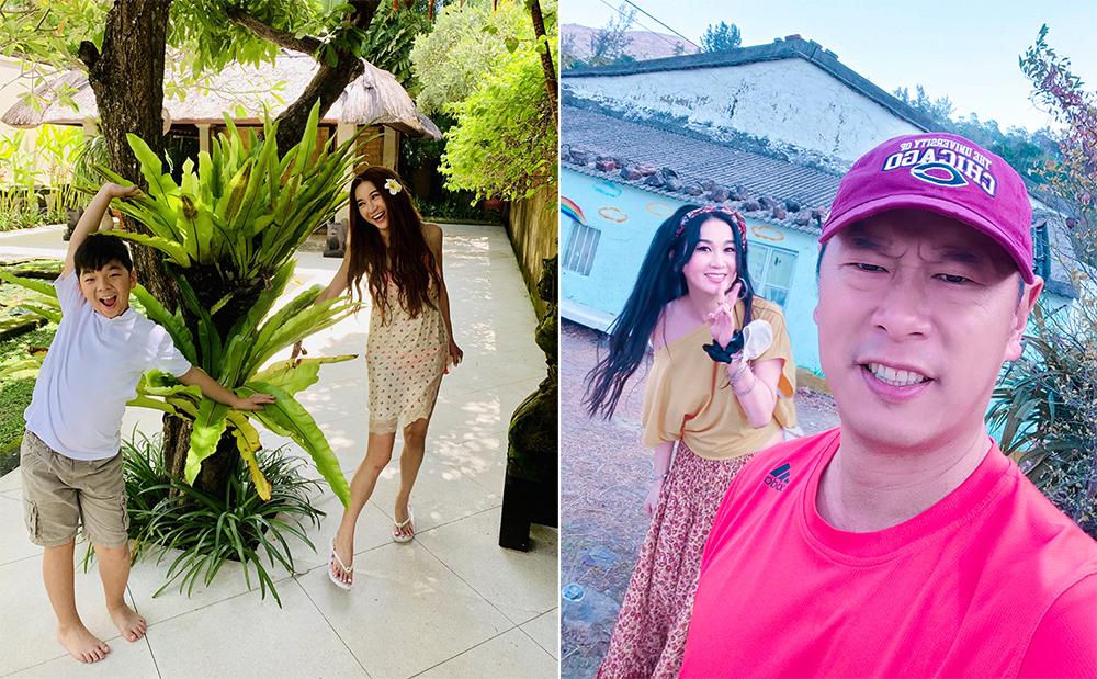 Diễn viên Ôn Bích Hà đi chơi cùng chồng con. Cô viết trên Weibo: Kỳ nghỉ thoáng cái đã sắp hết. Thật vui vì được bên người thân đón năm mới. Chúng ta hãy cùng cố gắng tạo dựng tương lai tốt đẹp hơn. Ảnh: Weibo/Wenbixia.