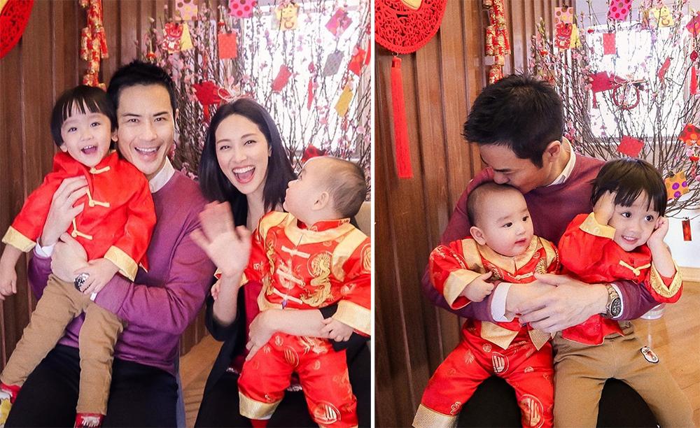 Vợ chồng Hoa hậu Hong Kong 2013 - Trần Khải Lâm - và tài tử Trịnh Gia Dĩnh bên hai con trai. Bé đầu hai tuổi, bé út chào đời tháng 7/2020.