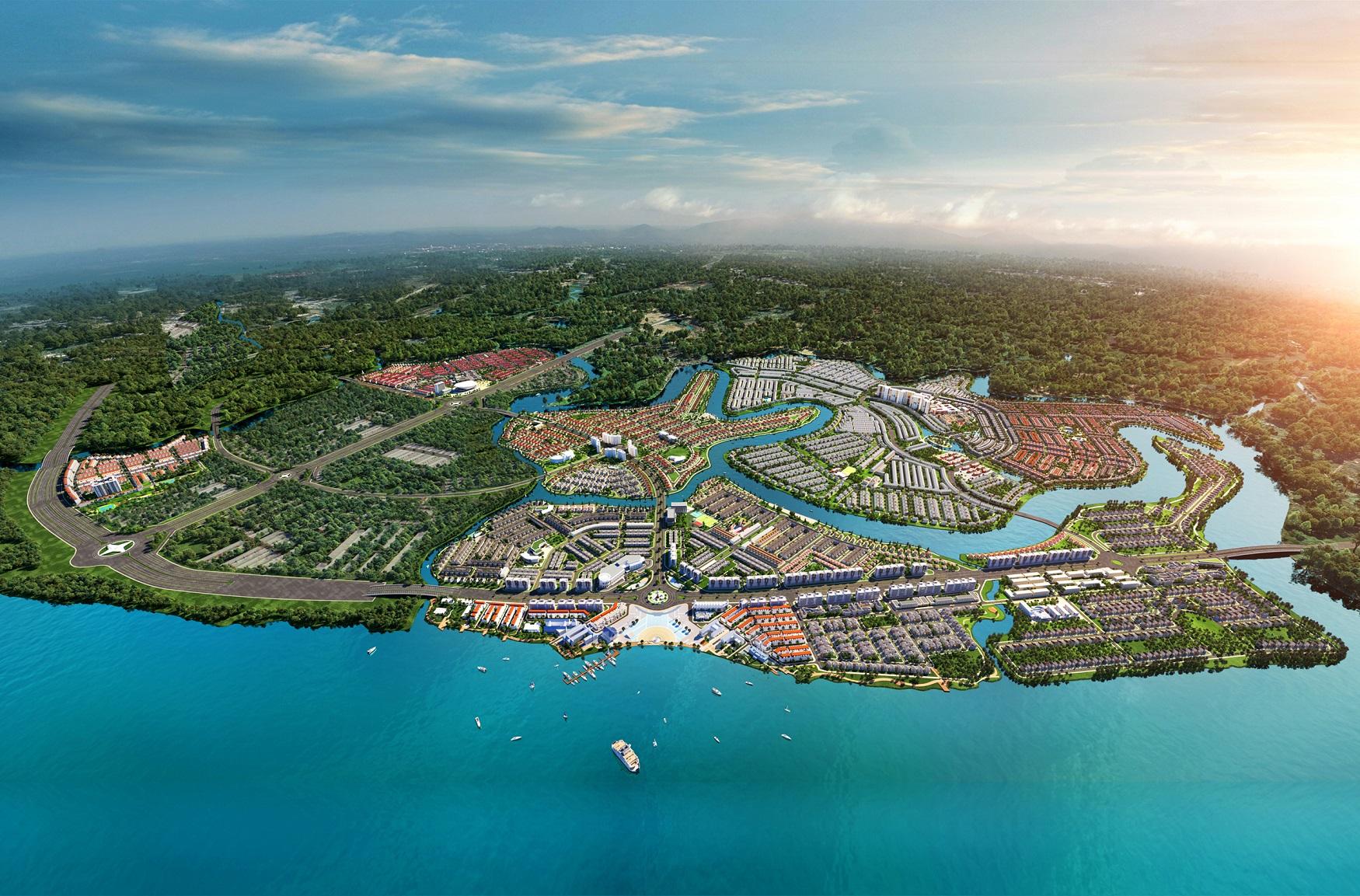 Phối cảnh Aqua City với 70% diện tích cho mảng xanh, hạ tầng giao thông và tiện ích nội khu hoàn chỉnh.