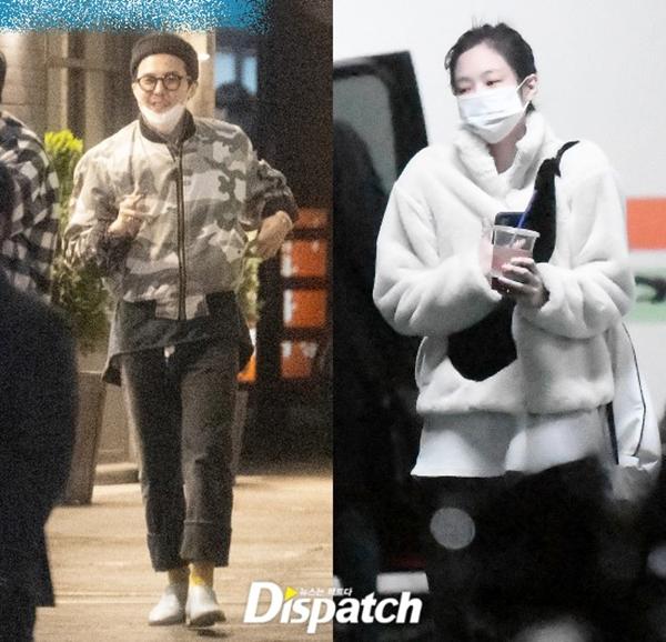 Dispatch ghi lại cảnh G-Dragon và Jennie đến địa điểm hẹn hò. Ảnh: Dispatch.