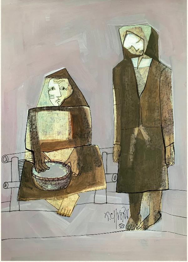 Tranh minh họa tác phẩm Vợ nhặt (Kim Lân) của họa sĩ Thành Chương. Ảnh: DongAbooks.